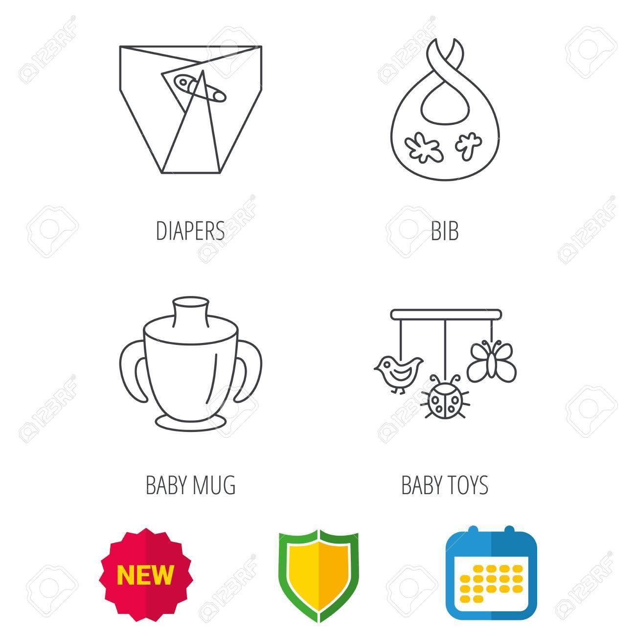 IconosSigno Del PañalesTaza Bebé Nuevos Y Niño SuciaProtección Juguetes Calendario Los Iconos Dorsal Lineal La EscudoEl De 80PwknO