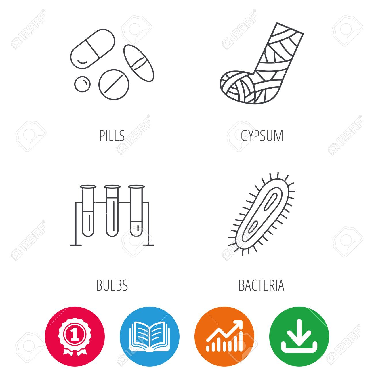 Broken foot bacteria and medical pills icons lab bulbs linear broken foot bacteria and medical pills icons lab bulbs linear sign award medal nvjuhfo Gallery