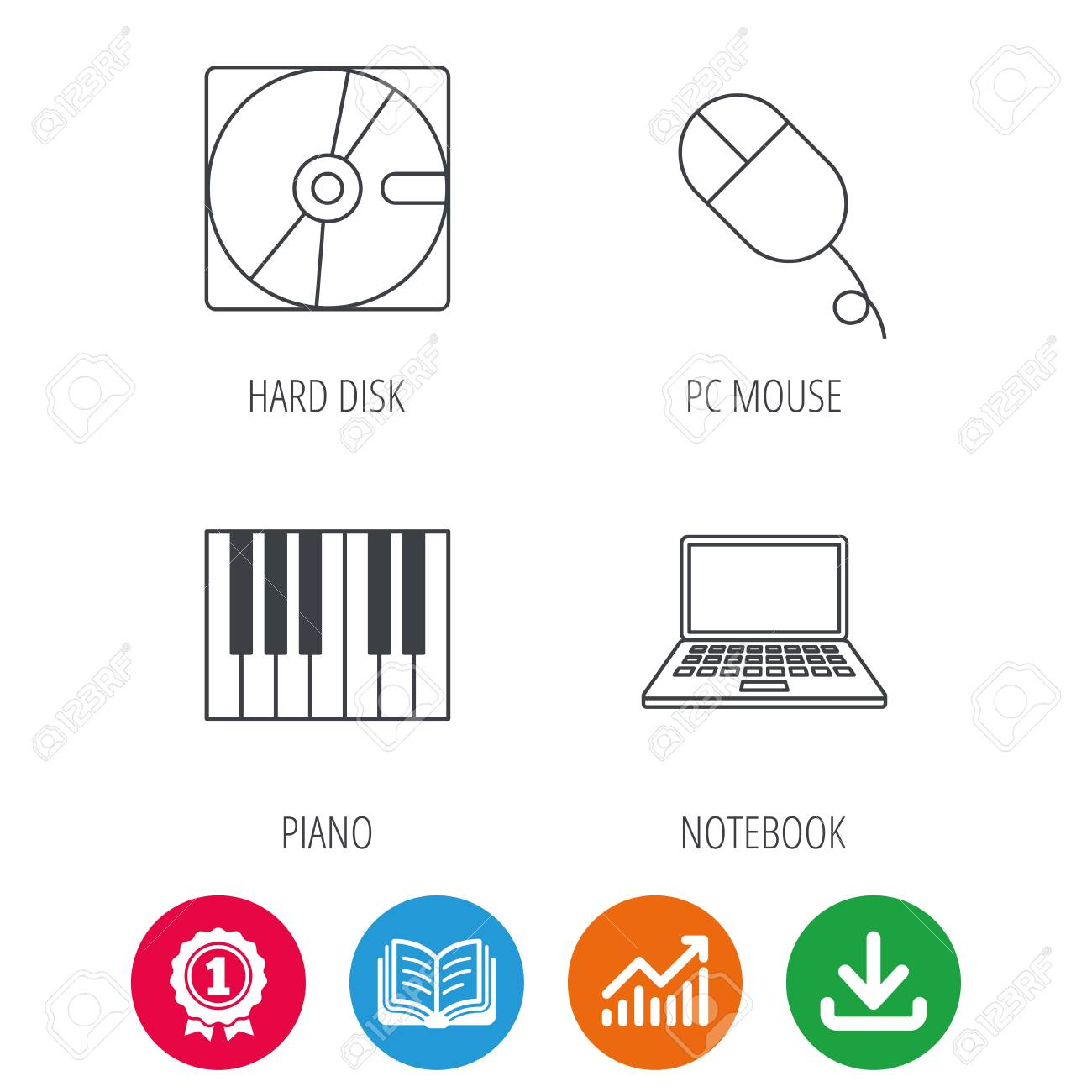 Hard disk, pc mouse and notebook laptop icons  Piano linear sign
