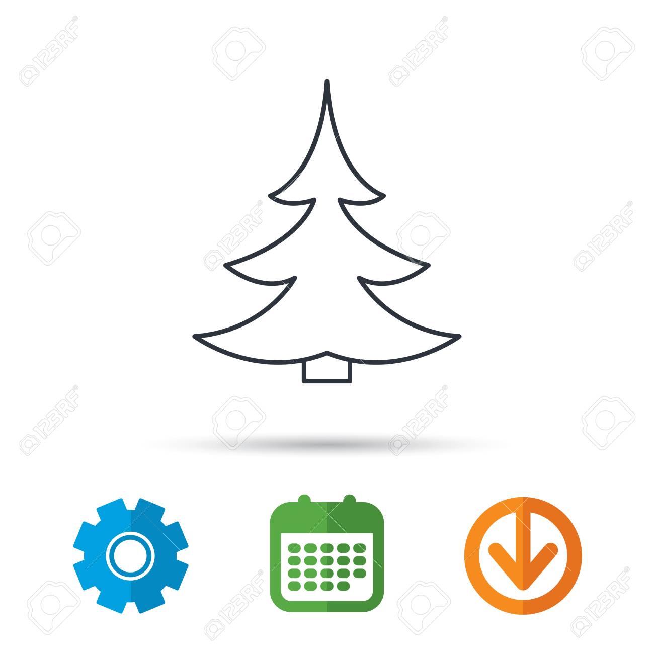Christmas Arrow Signs.Christmas Fir Tree Icon Spruce Sign Winter Forest Symbol Calendar