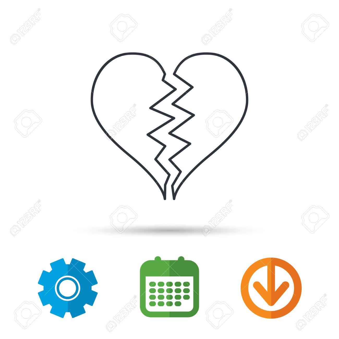 Broken heart icon divorce sign end of love symbol calendar broken heart icon divorce sign end of love symbol calendar cogwheel and buycottarizona