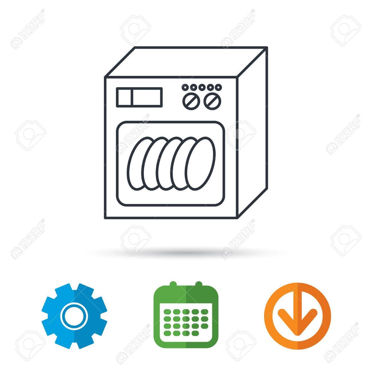 Relativ Spülmaschinen-Symbol. Küchengerät Zeichen. Kalender, Zahnrad Und DM62