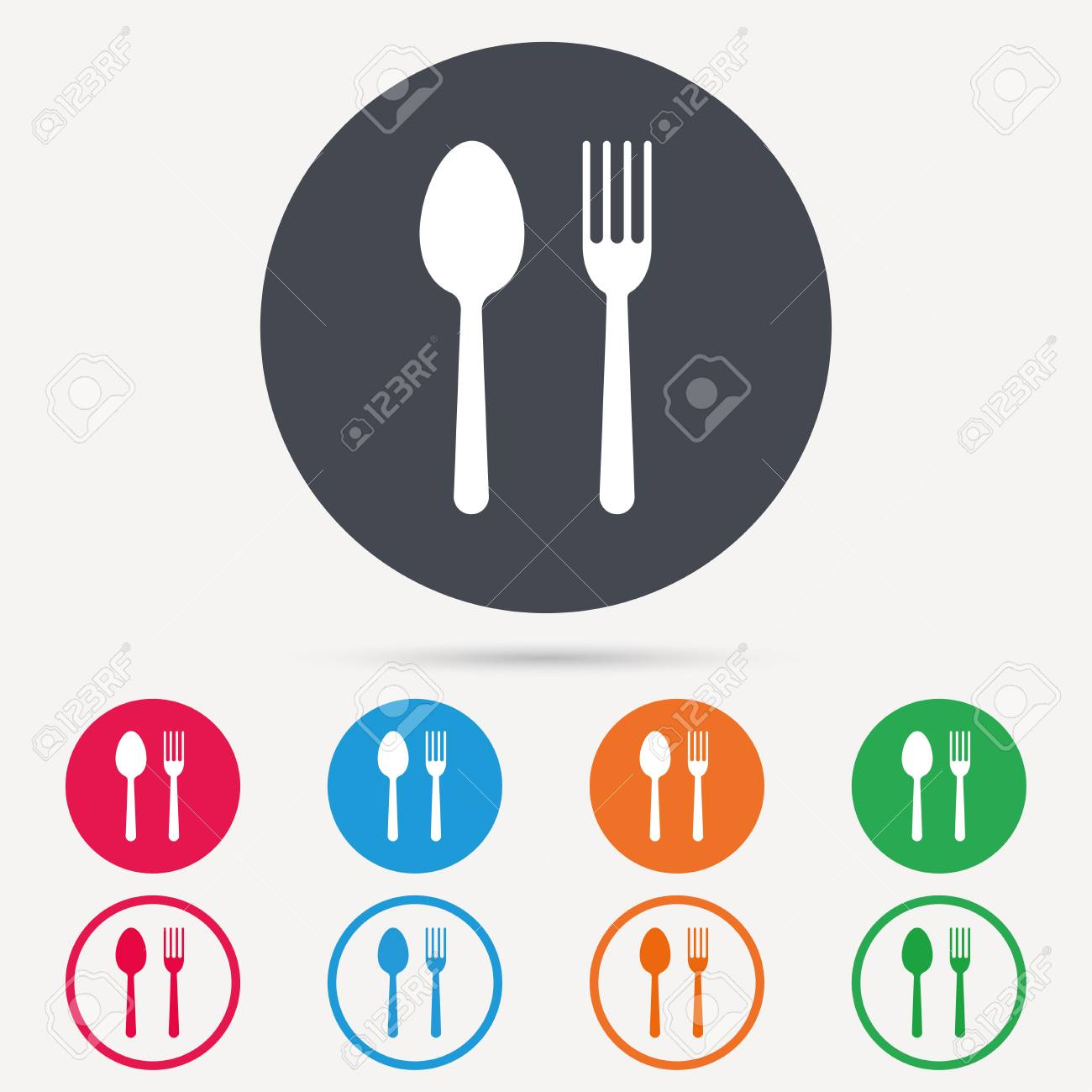 Food Icons Fork And Spoon Signs Cutlery Symbol Round Circle
