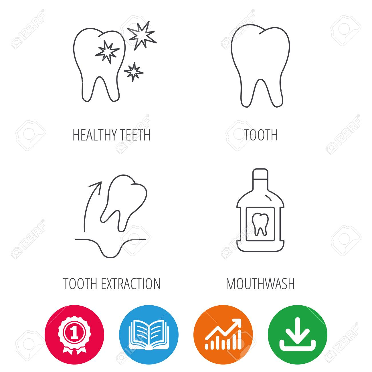 tooth mouthwash and healthy teeth icons tooth extraction linear sign award medal