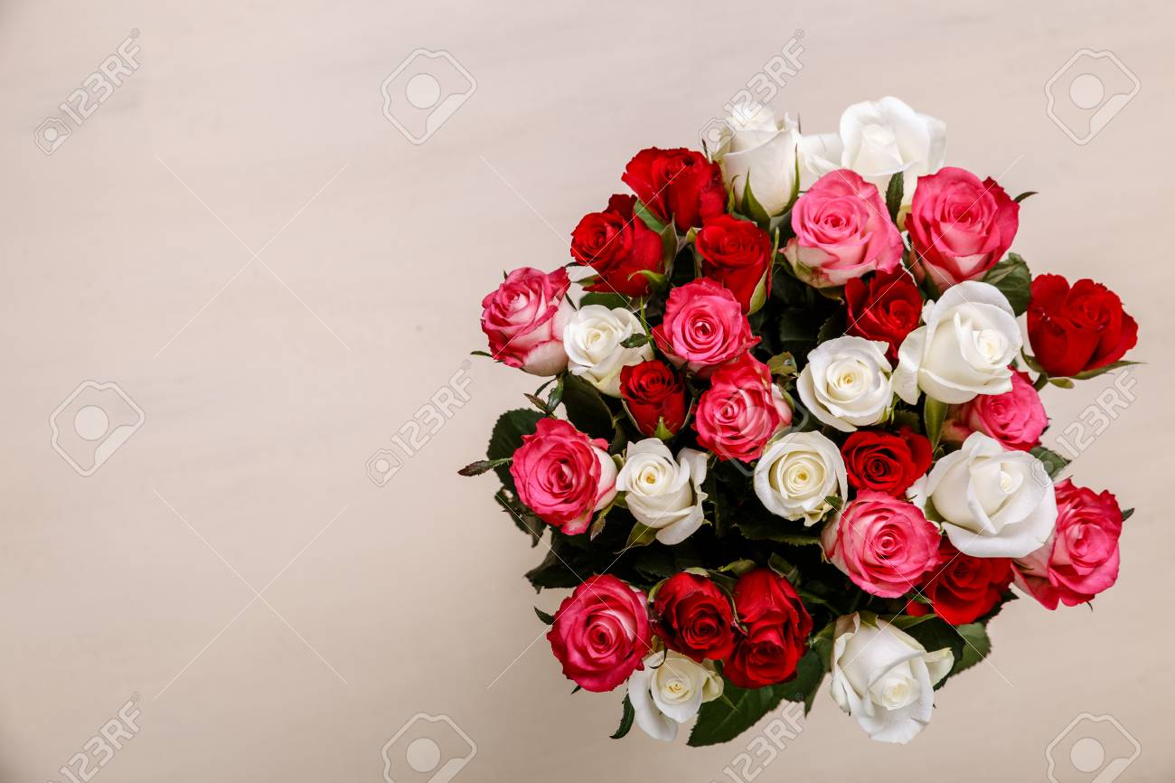 Bouquet Of Roses Background. Wedding Natural Flowers. Valentines ...
