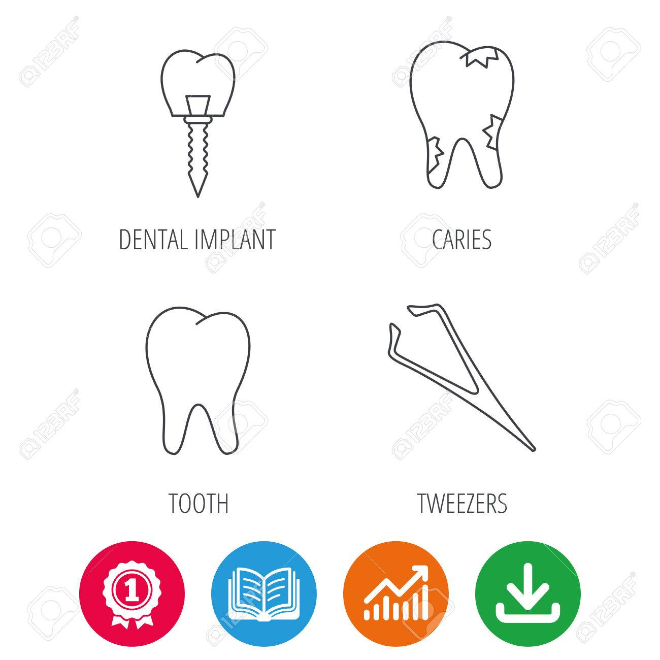 Dental Implant Caries And Tooth Icons Tweezers Linear Sign
