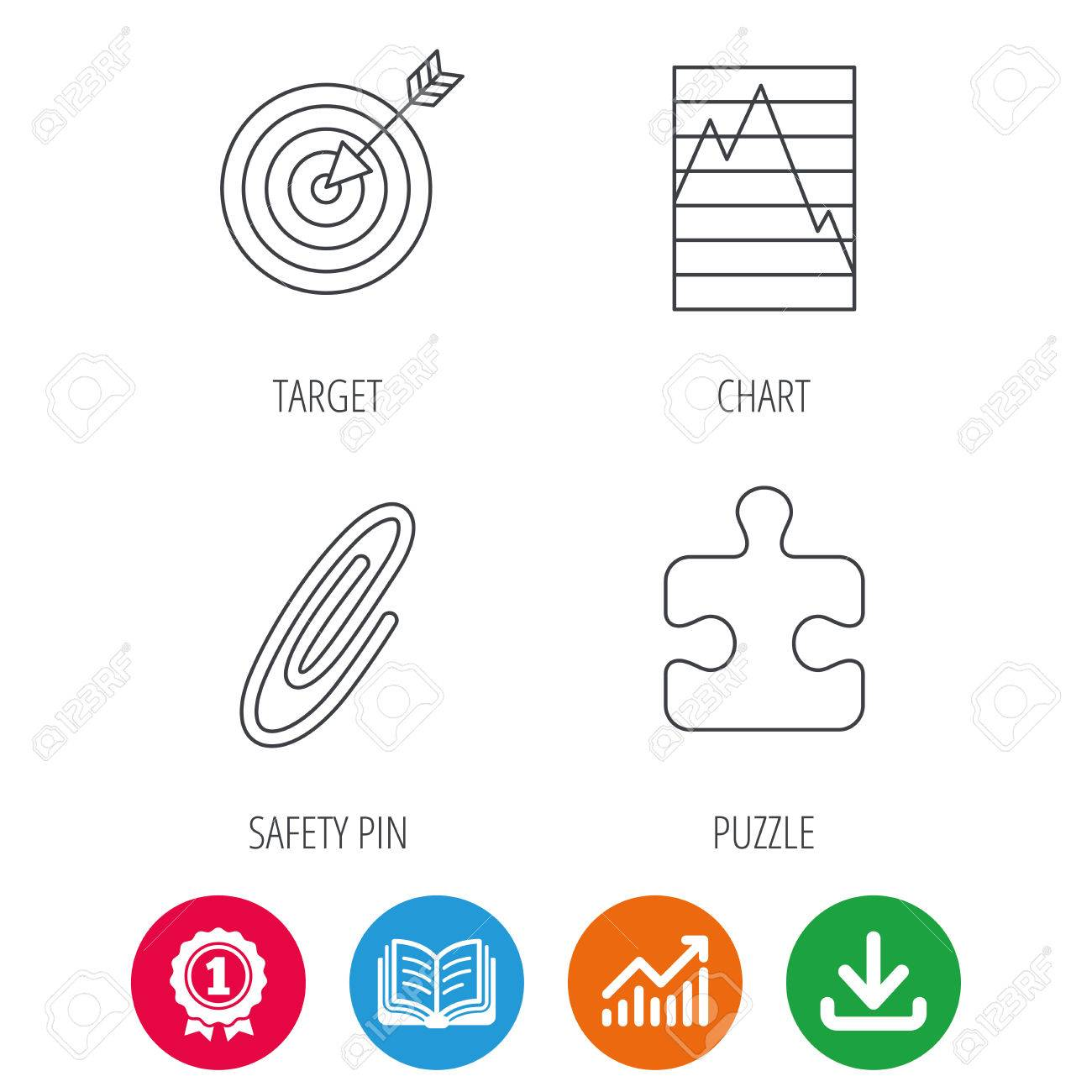 Puzzle graph charts and target icons safety pin linear sign puzzle graph charts and target icons safety pin linear sign award medal geenschuldenfo Images