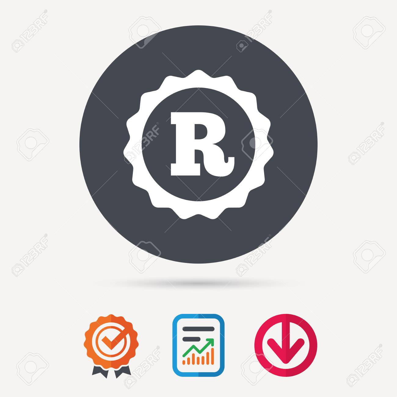 Registered trademark icon intellectual work protection symbol registered trademark icon intellectual work protection symbol report document award medal with tick biocorpaavc Choice Image