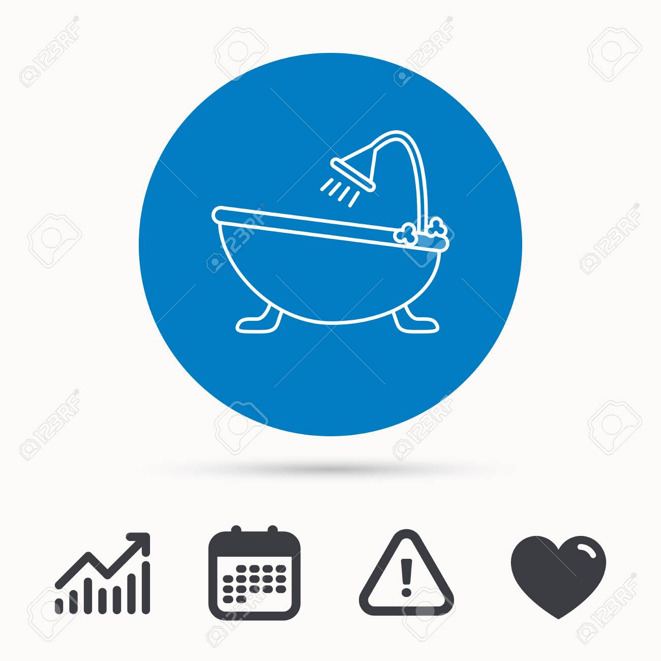 Bathroom Icon Bath With Shower Sign Calendar Attention And Growth Chart