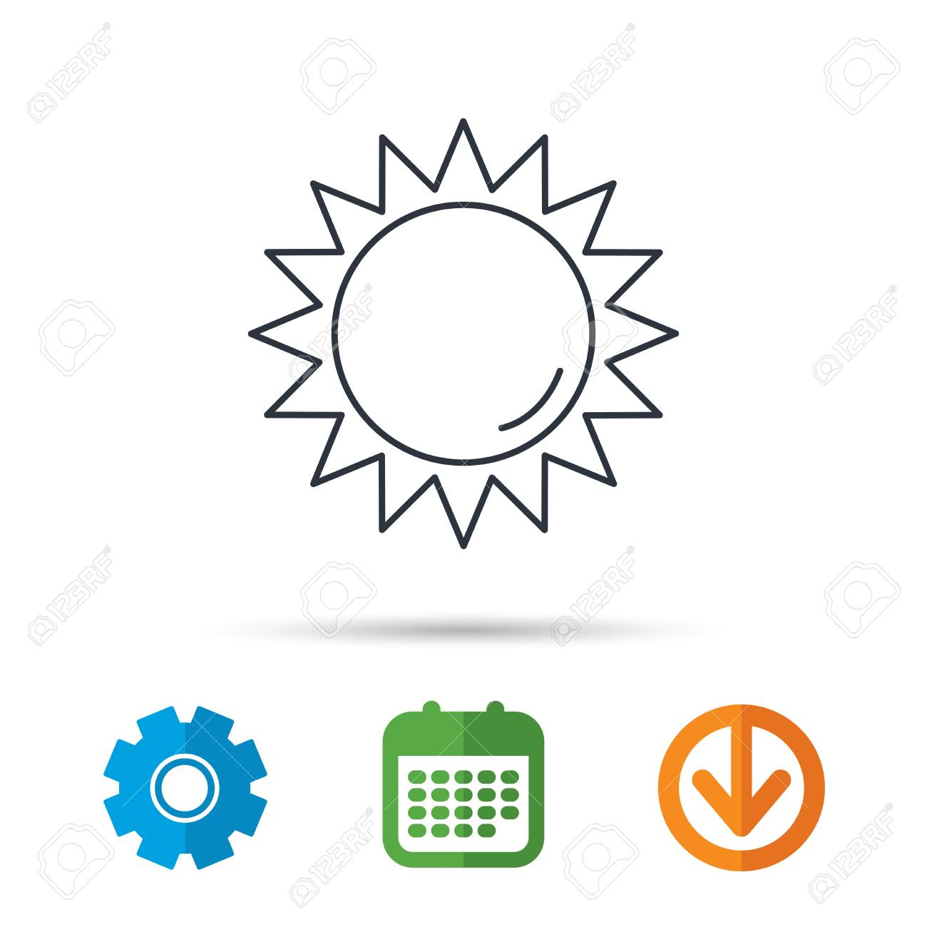 Sun Rays Icon Summer Sign Hot Weather Symbol Royalty Free