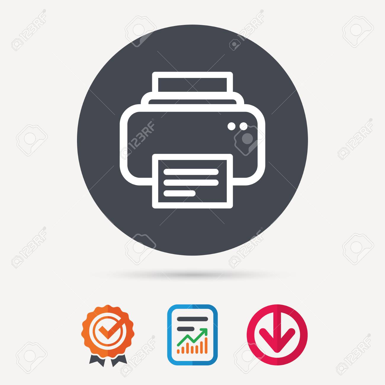 Print Documents Technology Symbol Report Document Award Medal With Tick And