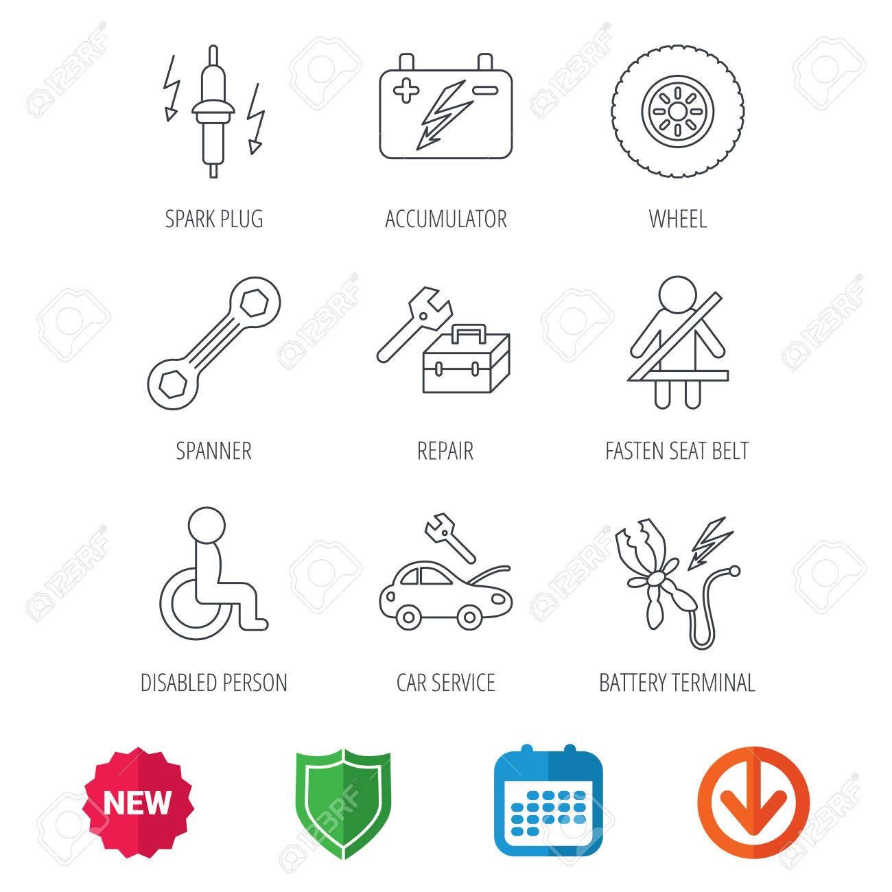 Akkumulator, Schraubenschlüssel Werkzeug Und Auto Service Symbole ...