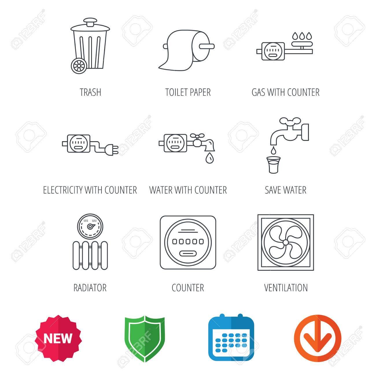 Lüftungs-, Heizkörper- Und Wasserzählersymbole. Toiler Papier, Gas ...