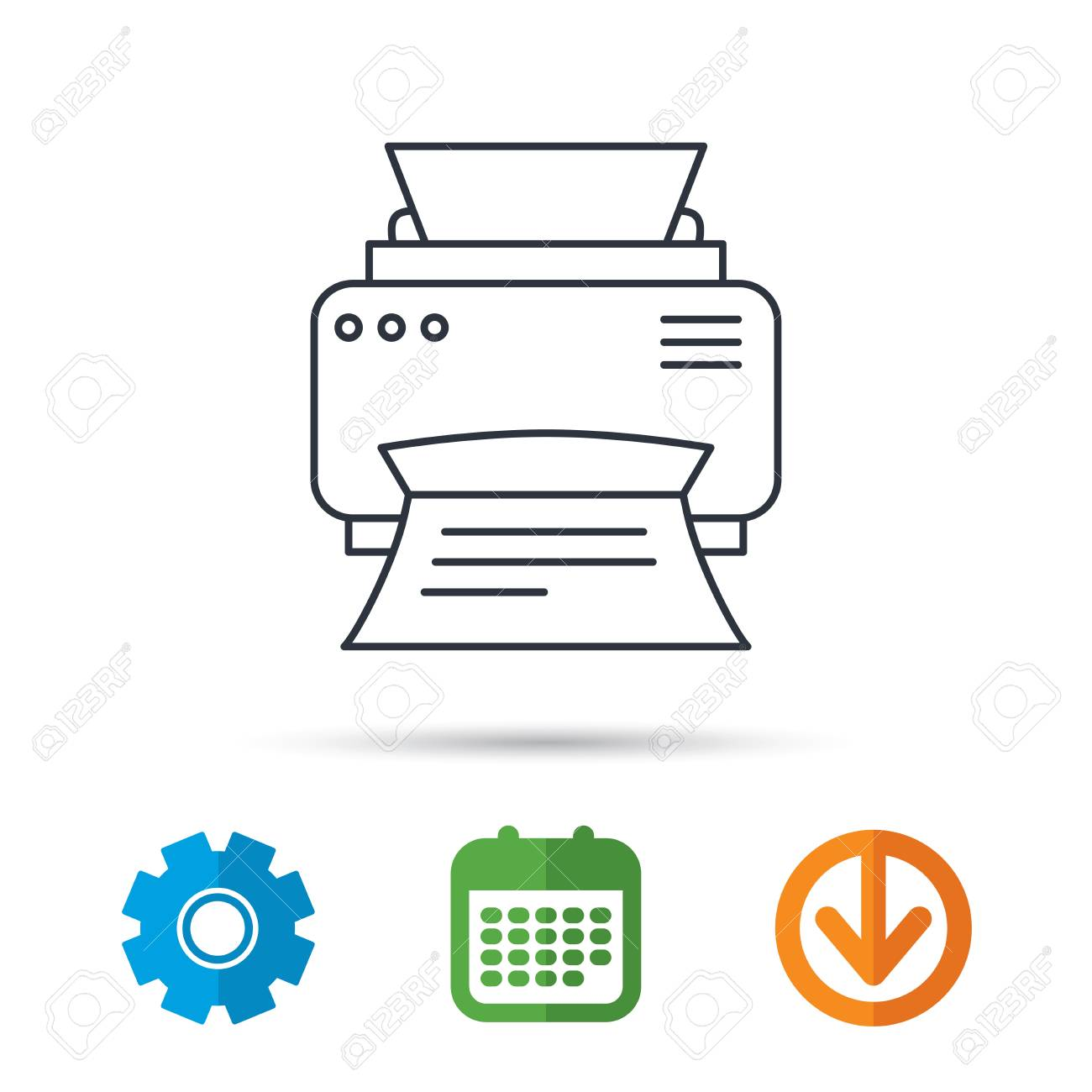 Print Document Technology Sign Office Device Symbol Calendar Cogwheel And