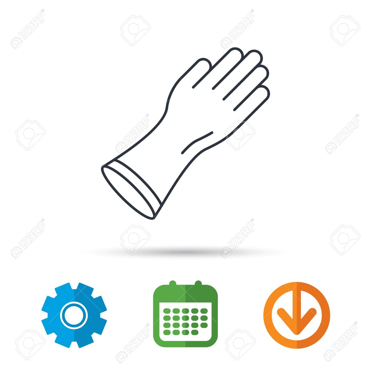 rubber gloves icon latex hand protection sign housework cleaning rh 123rf com vector arrow notation latex vector arrow above latex