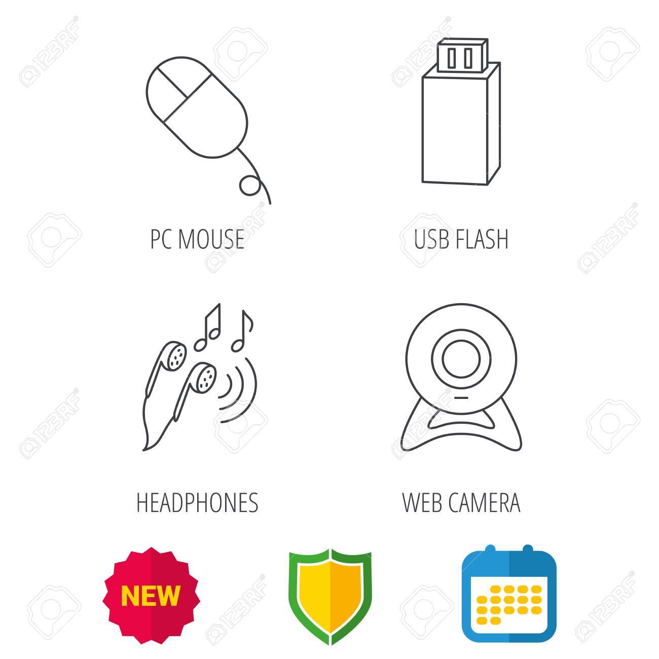 Cámara Web Flash Usb Y Los Iconos Del Mouse De Pc Señal Lineal De Auriculares Protección De Escudo Calendario Y Nuevos Iconos De Web De Etiqueta