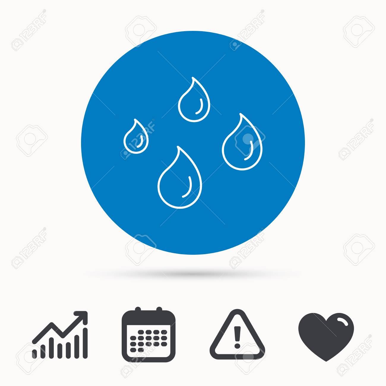 Water drops icon  Rain or washing sign  Rainy day symbol  Calendar,