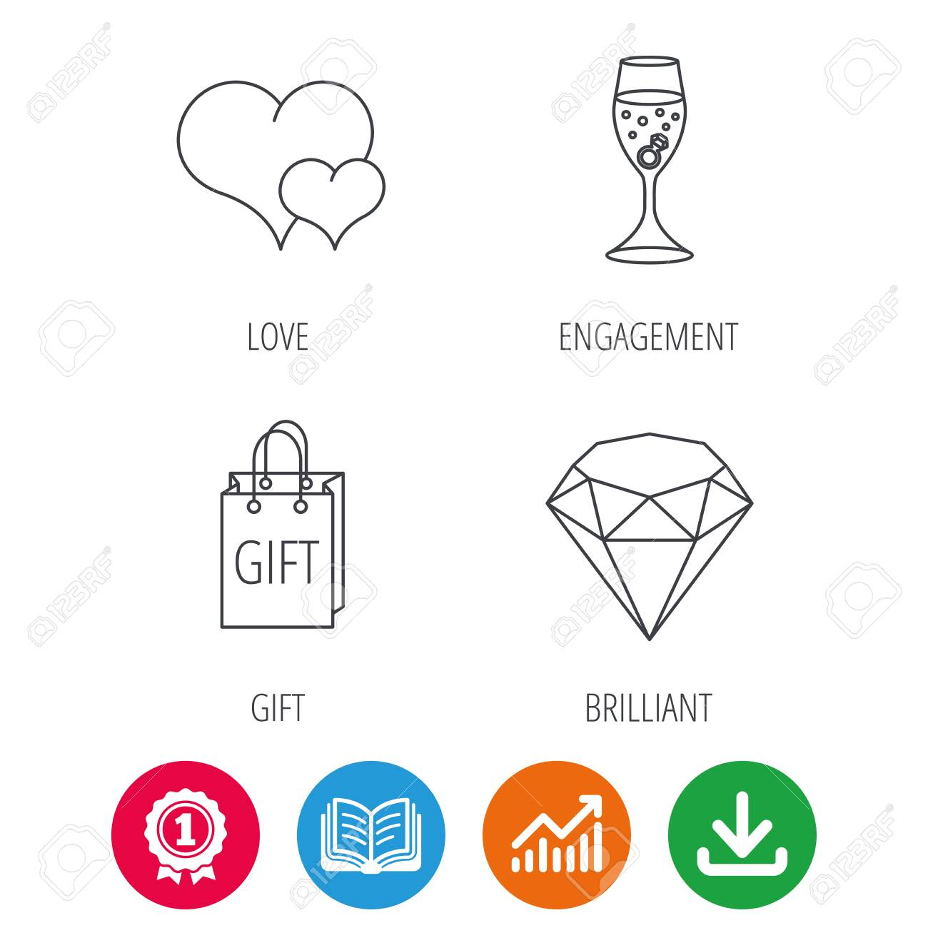 Love heart gift box and wedding ring icons brilliant and love heart gift box and wedding ring icons brilliant and engagement linear signs ccuart Images