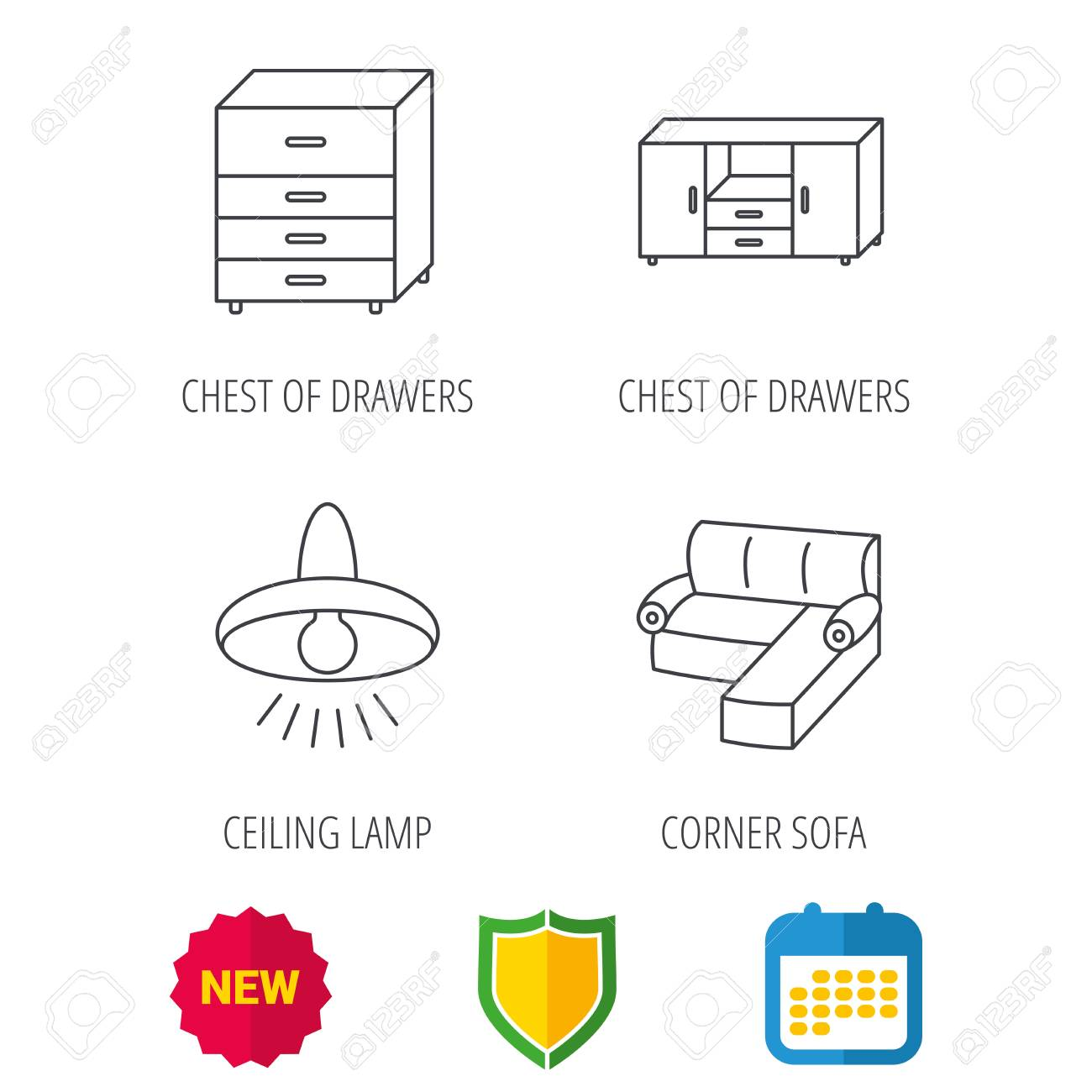 Corner Sofa Ceiling Lamp And Chest Of Drawers Icons Furniture