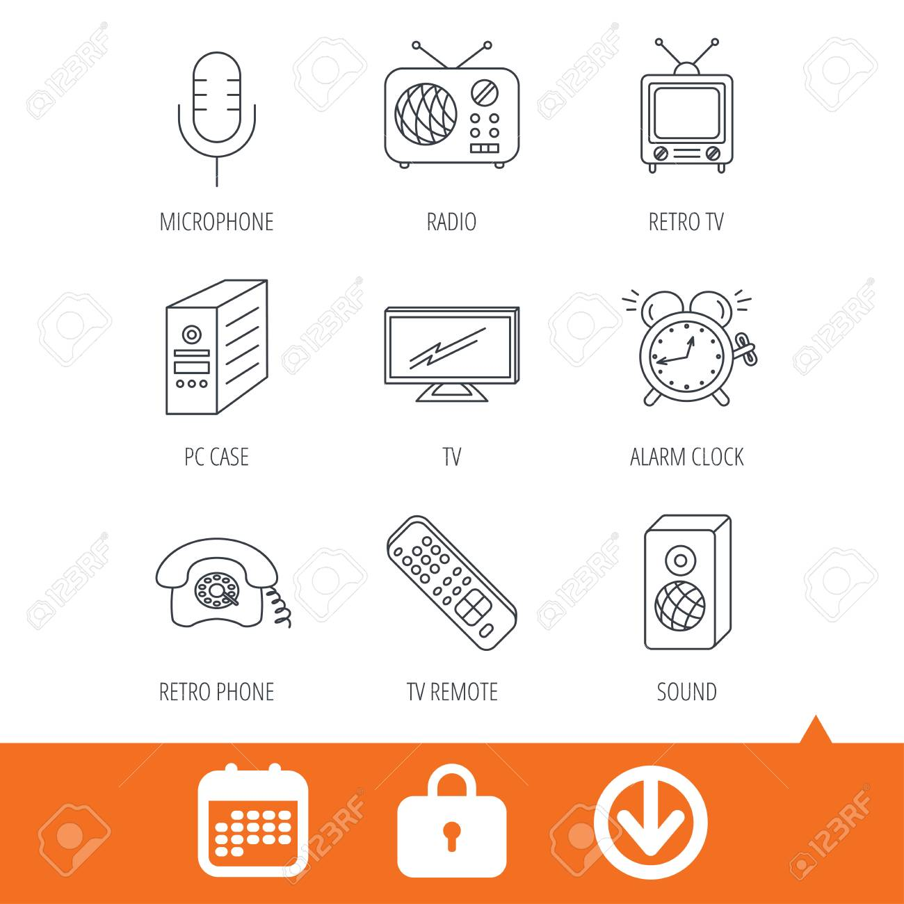 TV remote, retro phone and radio icons  PC case, microphone and