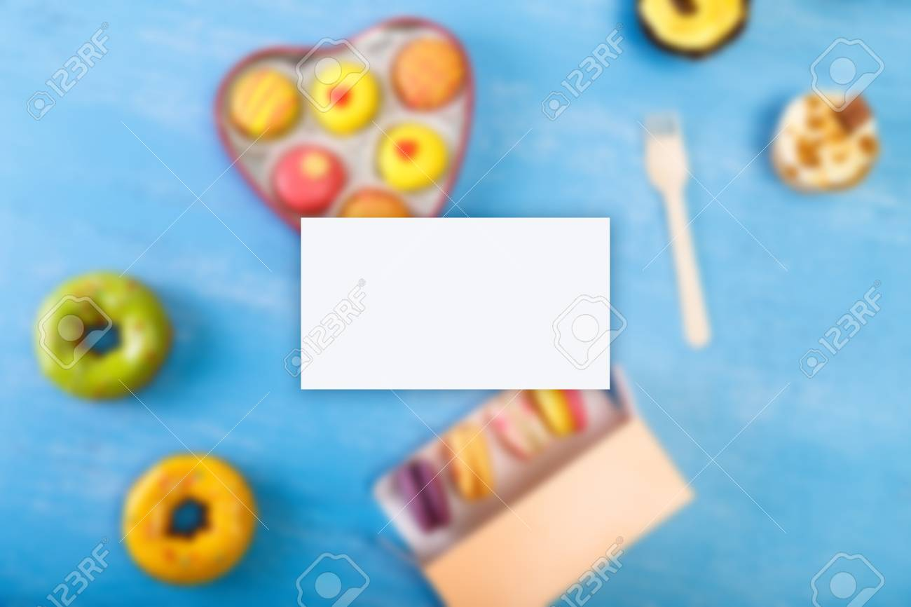 Business Card Mockup. Cupcakes, Macaroons And Glazed Donuts... Stock ...