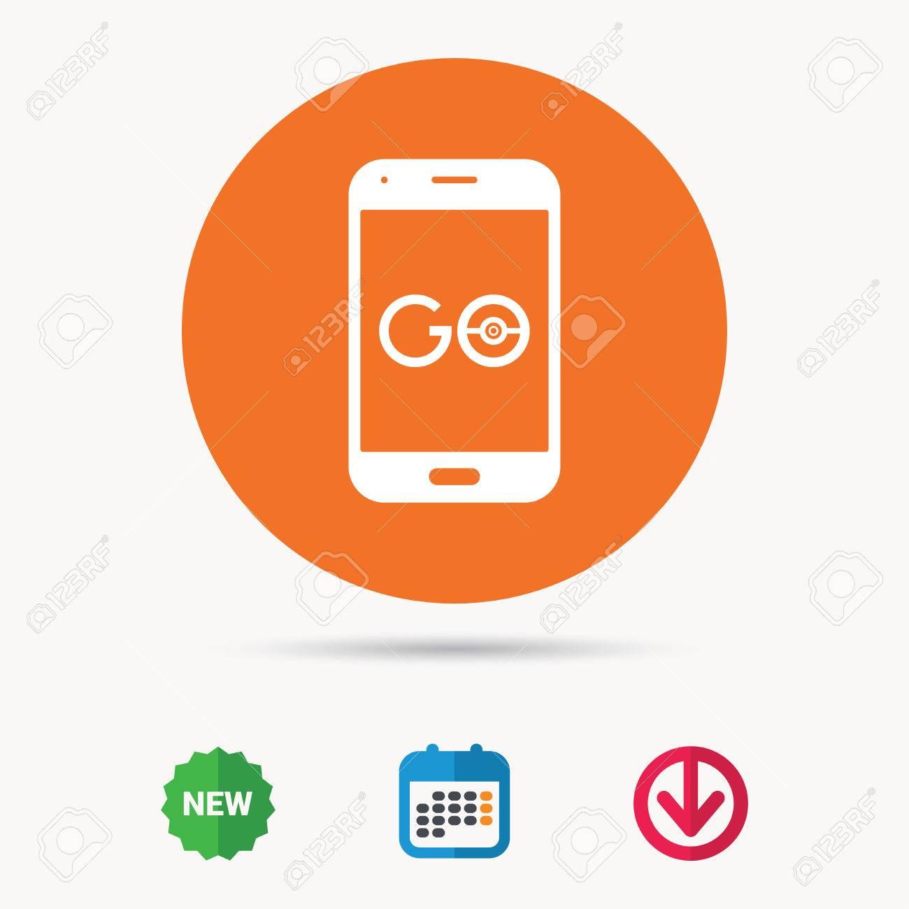 Smartphone game icon  Go symbol  Pokemon game concept  Calendar,