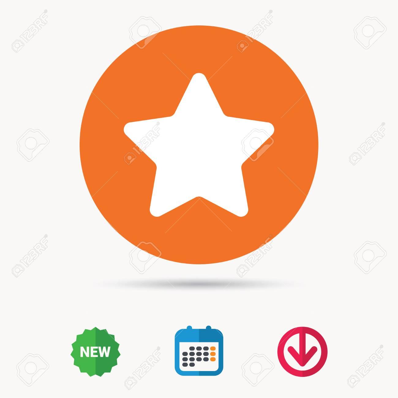 Star icon. Favorite or best sign. Web ranking symbol. Calendar.
