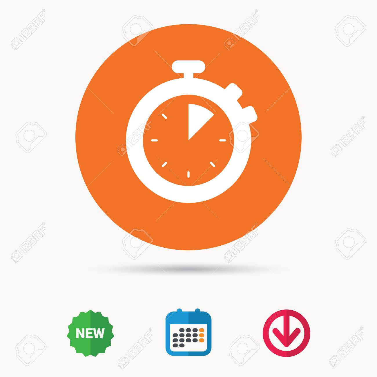 timer or clock device symbol calendar download arrow and new tag