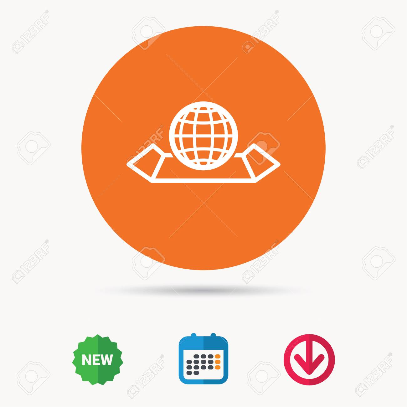 World map icon globe sign travel location symbol calendar vector world map icon globe sign travel location symbol calendar download arrow and new tag signs colored flat web icons vector gumiabroncs Choice Image