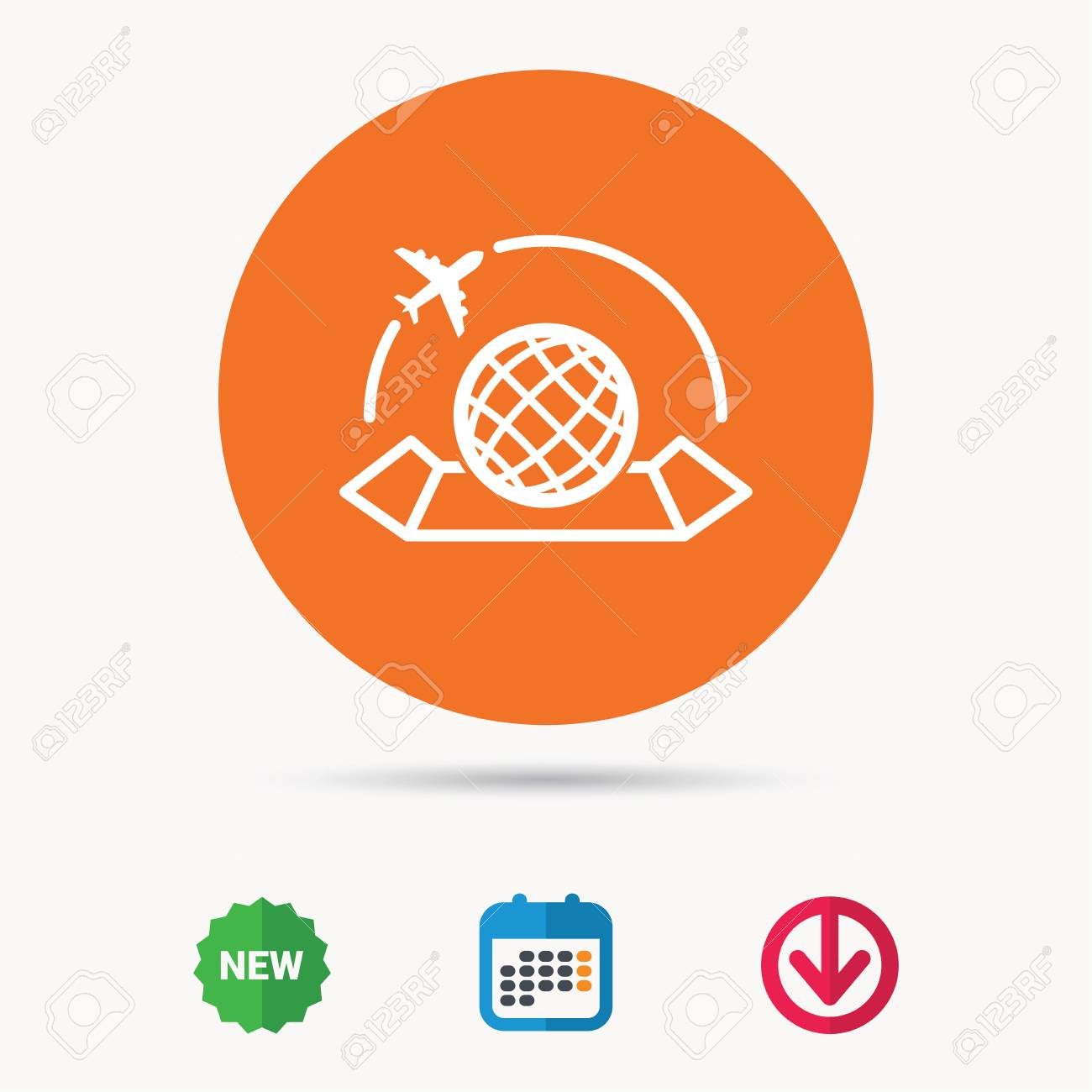 World map icon globe with airplane sign plane travel symbol vector world map icon globe with airplane sign plane travel symbol calendar download gumiabroncs Image collections