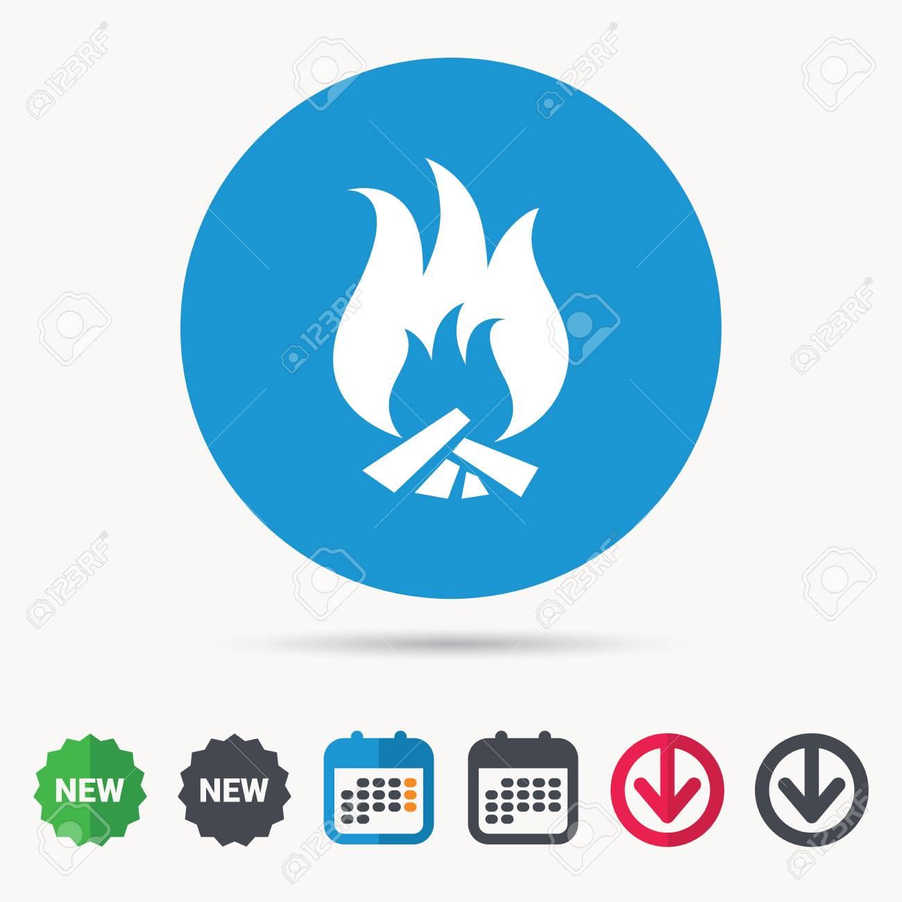 Fire icon  Blazing bonfire flame symbol  Calendar, download arrow