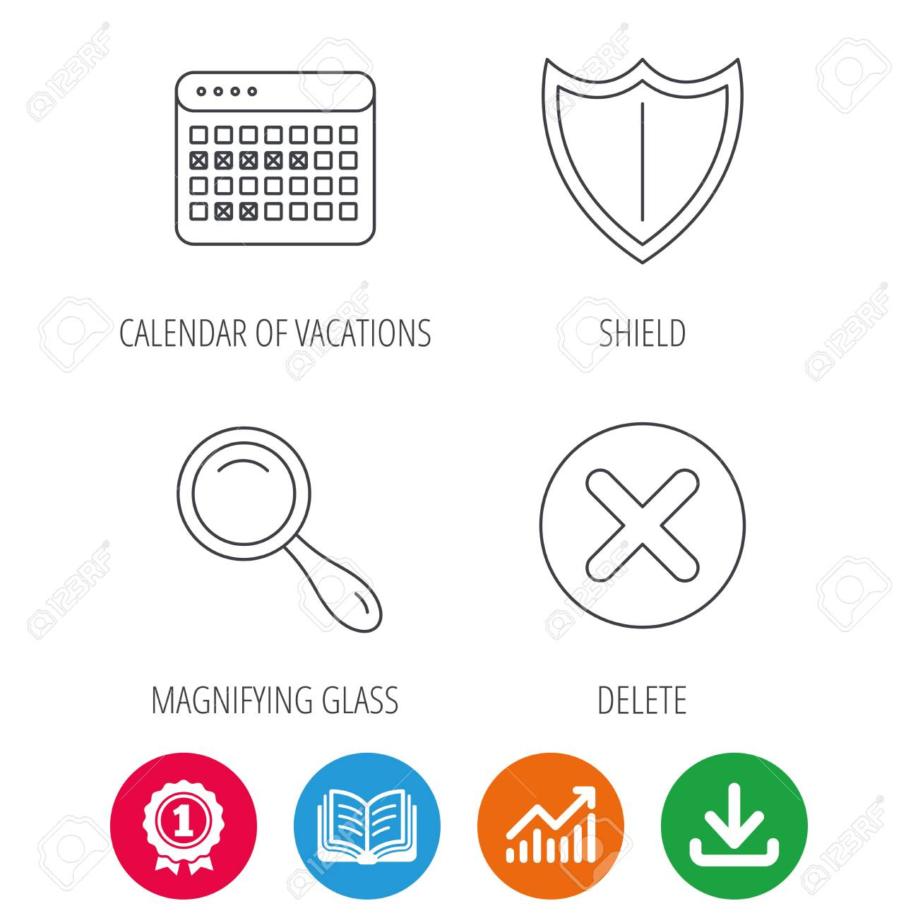 Calendar magnifying glass and delete icons shield linear sign banco de imagens calendar magnifying glass and delete icons shield linear sign award medal growth chart and opened book web icons download arrow ccuart Choice Image