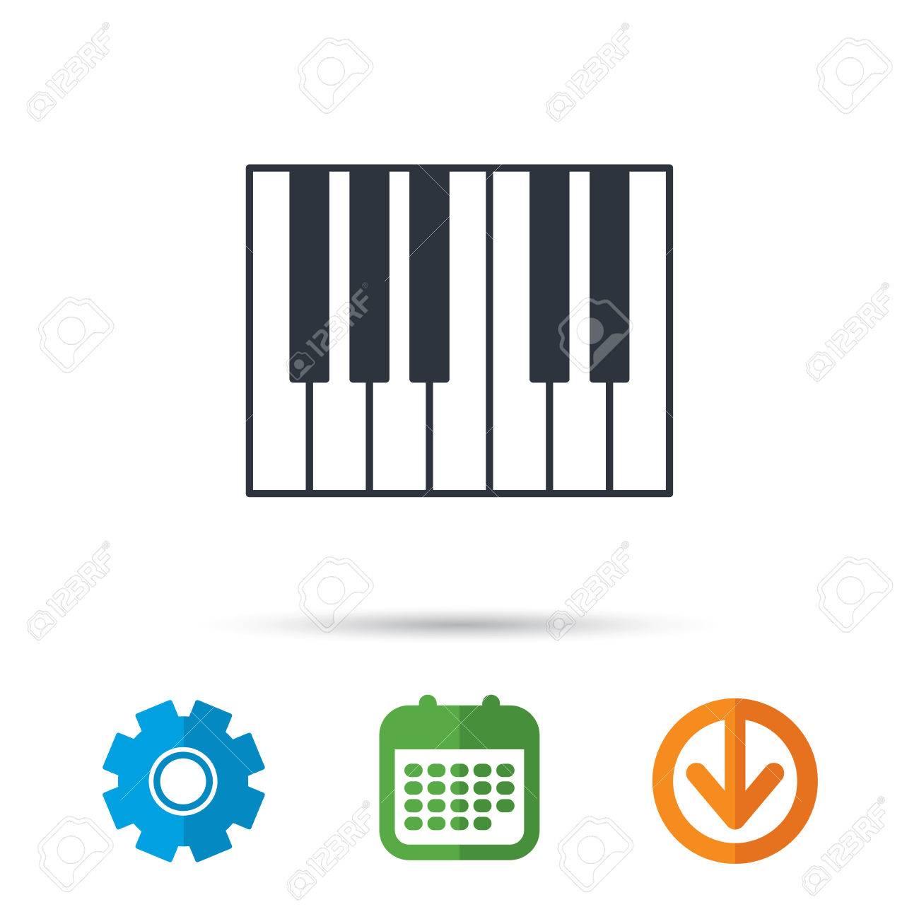 Piano icon  Royal musical instrument sign  Calendar, cogwheel