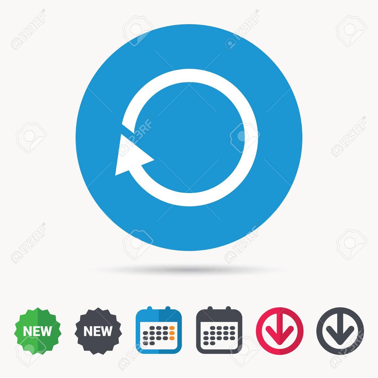 Actualizar Calendario.Icono De Actualizacion Actualizar O Repetir El Simbolo Calendario Flecha De Descarga Y Nuevos Letreros De Etiquetas Iconos De Colores Web Plana