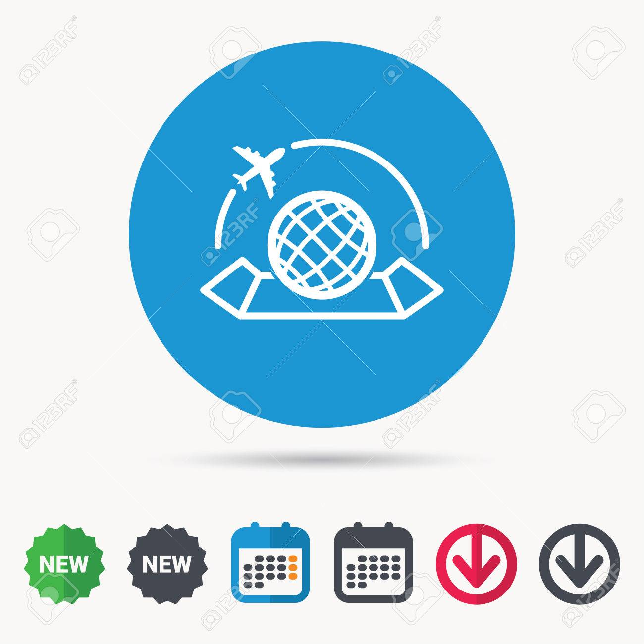 World map icon globe with airplane sign plane travel symbol vector world map icon globe with airplane sign plane travel symbol calendar download arrow and new tag signs colored flat web icons vector publicscrutiny Image collections