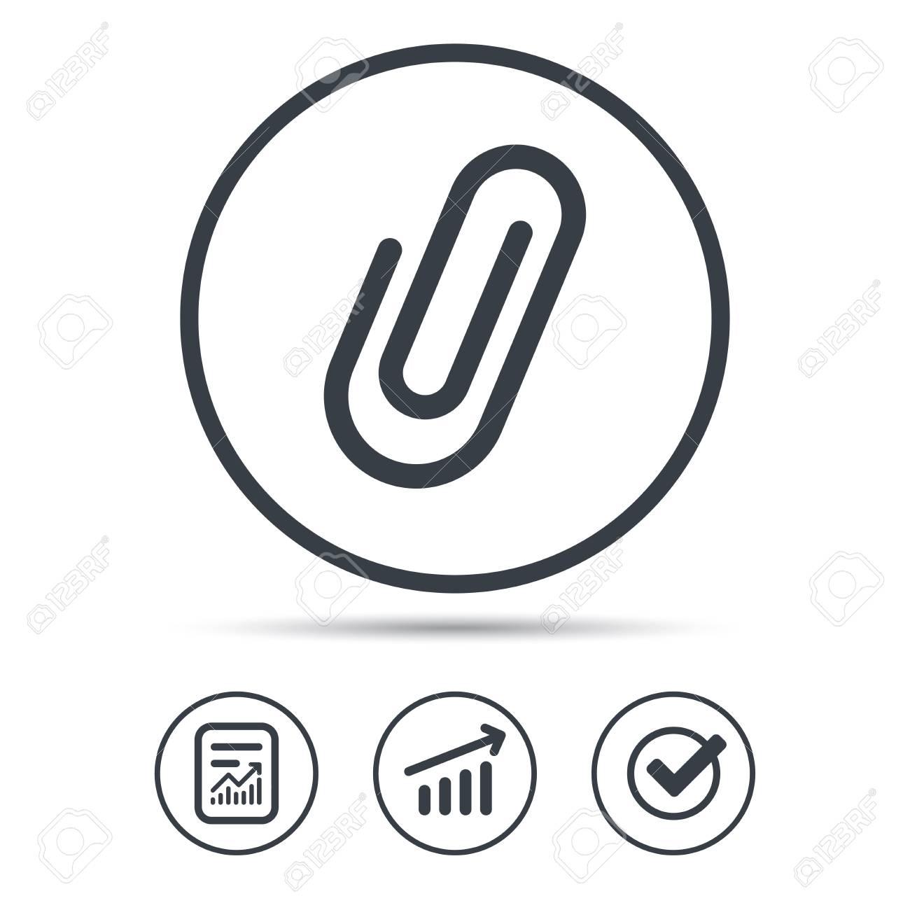 attachment icon paper clip symbol report document graph chart