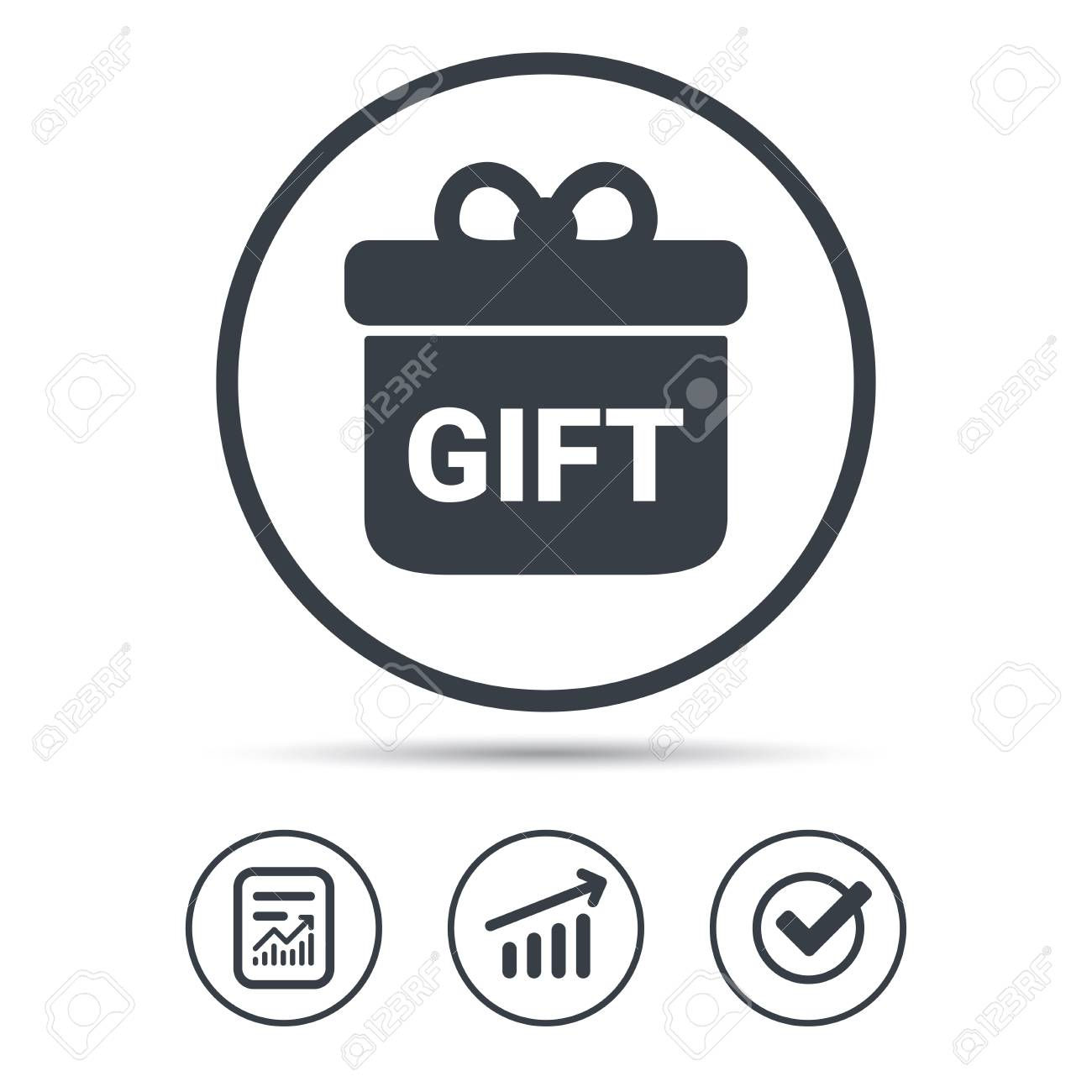 Gift Icon Present Box With Bow Symbol Report Document Graph