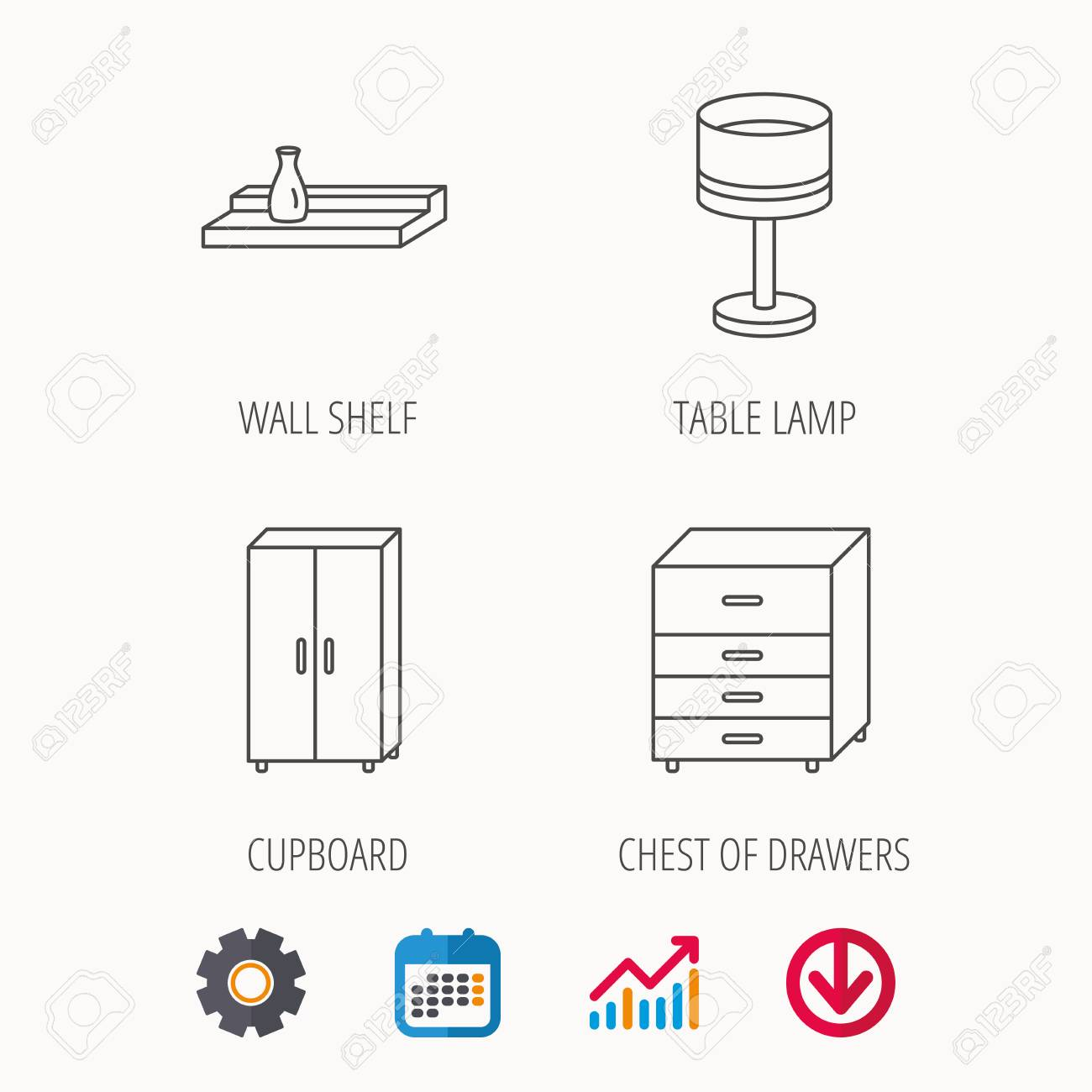 Table lamp cupboard and wall shelf icons chest of drawers linear table lamp cupboard and wall shelf icons chest of drawers linear sign calendar ccuart Images
