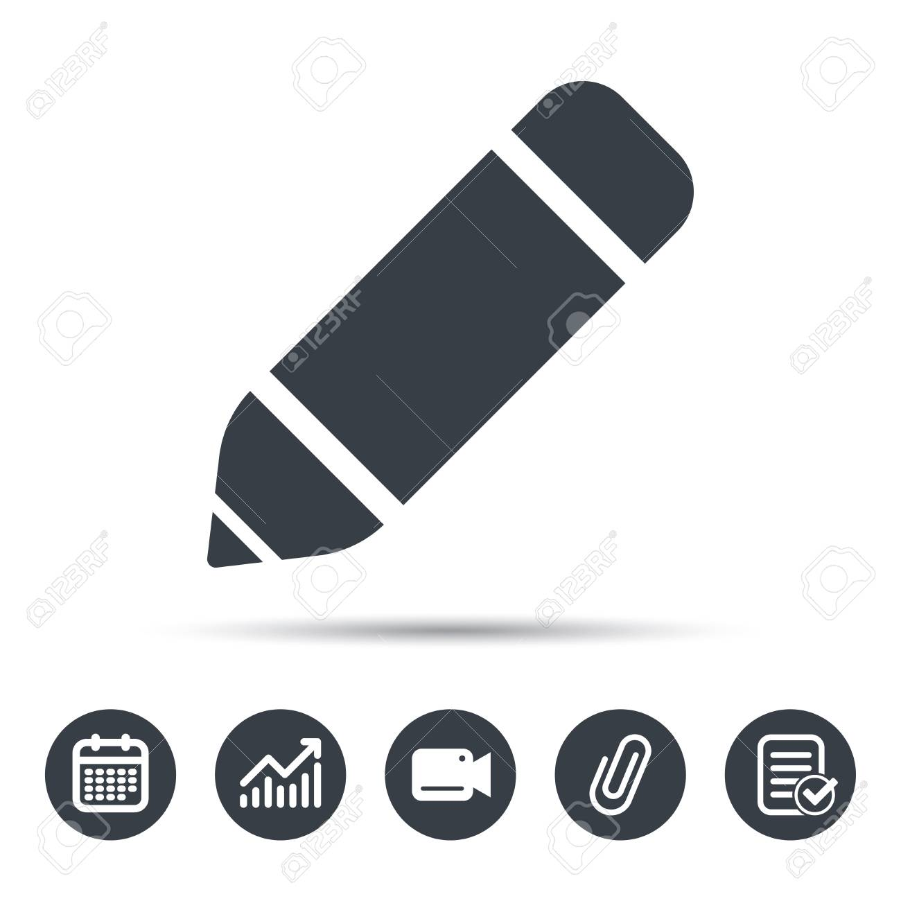 Edit Icon Pencil For Drawing Symbol Calendar Chart And Checklist