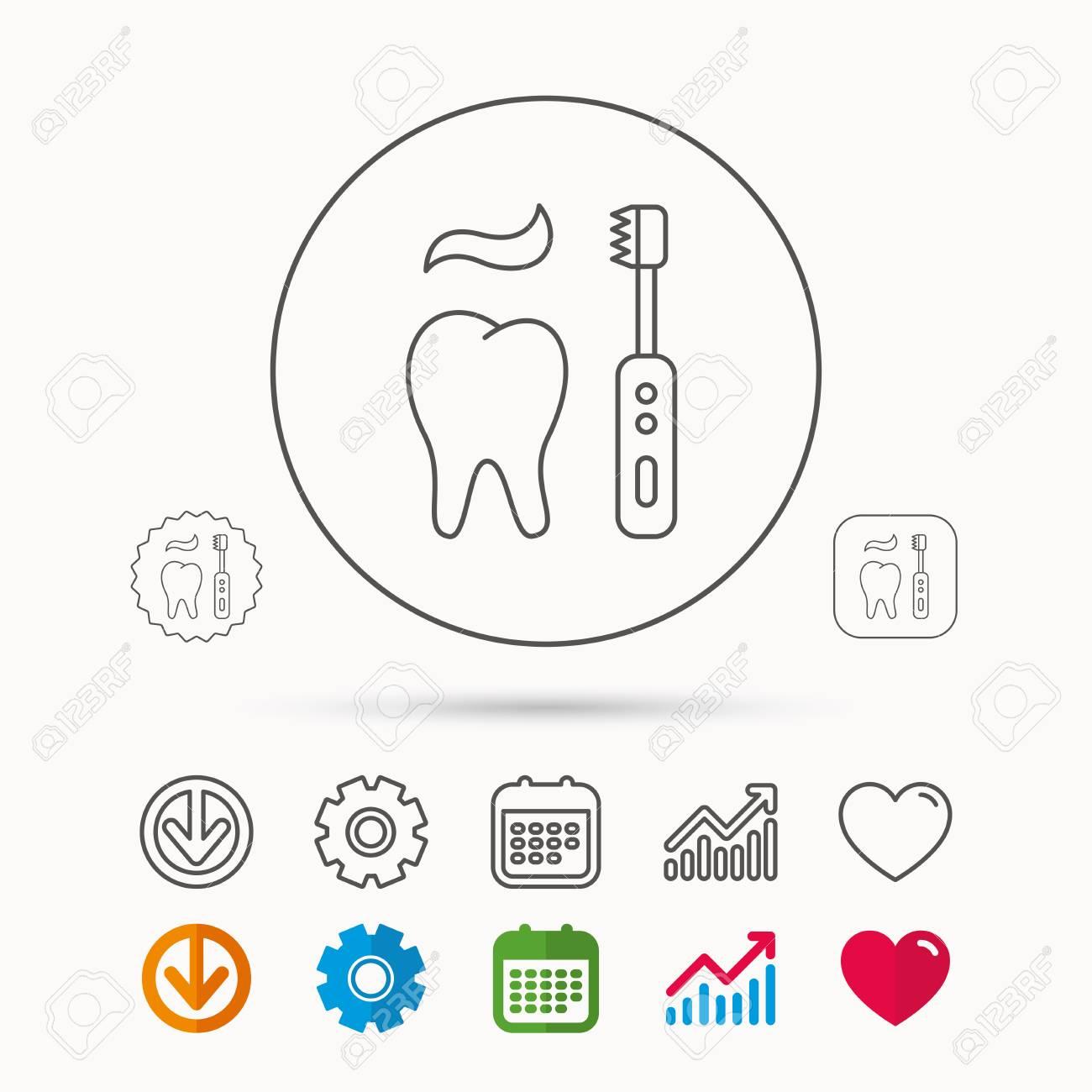 Zähneputzen-Symbol. Elektrische Zahnbürste Zeichen. Zahnpasta Und ...
