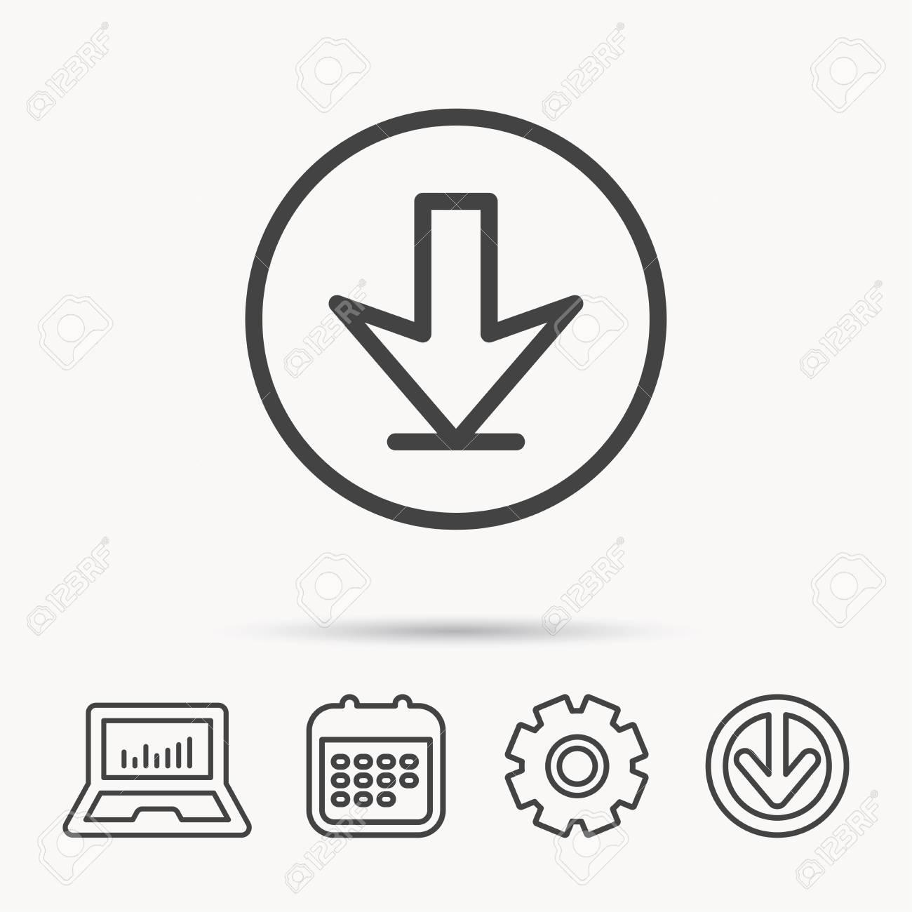 05be9666dda86 Descargar icono. Signo de flecha hacia abajo. Símbolo de carga de Internet.  Cuaderno