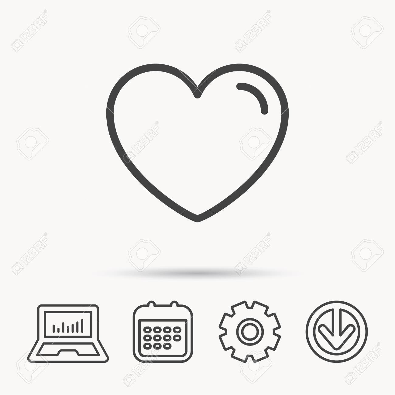Love Heart Icon Life Sign Like Symbol Notebook Calendar And