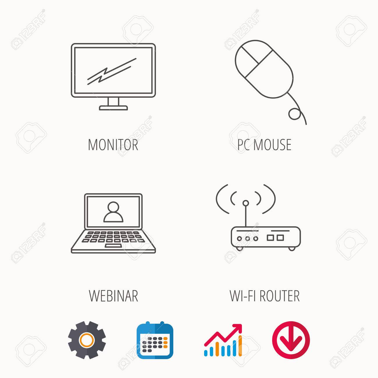 Wifi router, pc mouse and monitor tv icons  Webinar linear sign