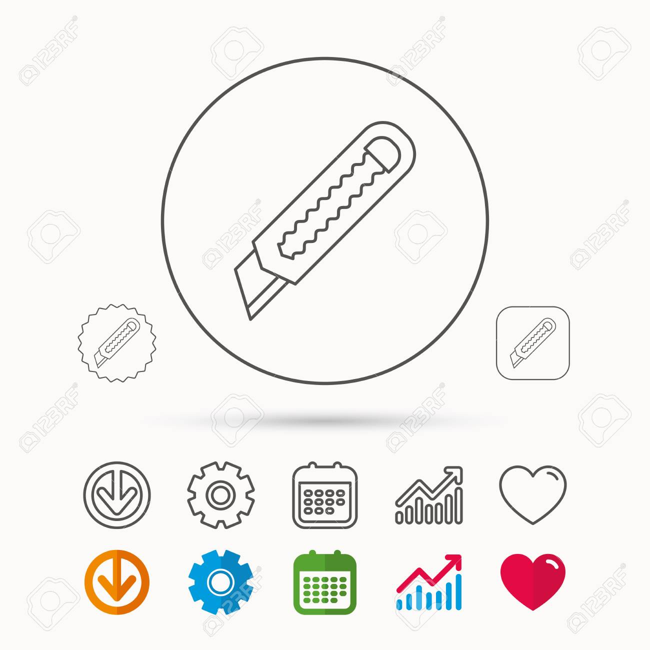 paper knife icon cutter tool sign calendar graph chart and