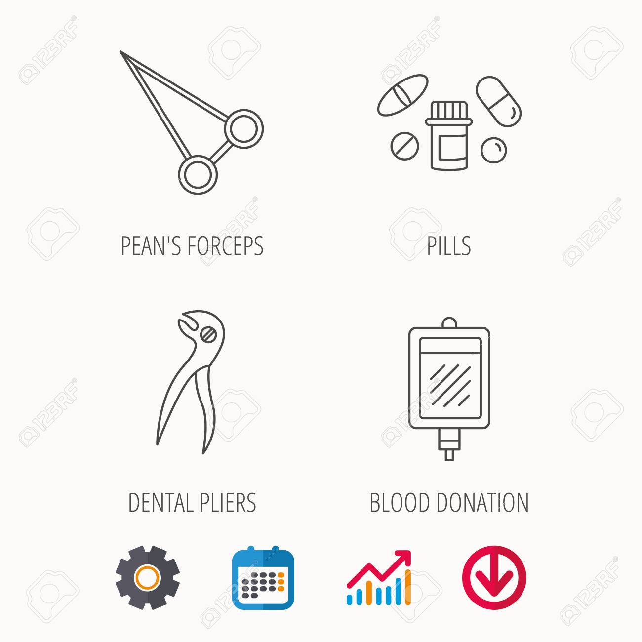 Medical pills blood and dental pliers icons peans forceps linear medical pills blood and dental pliers icons peans forceps linear sign calendar biocorpaavc Gallery