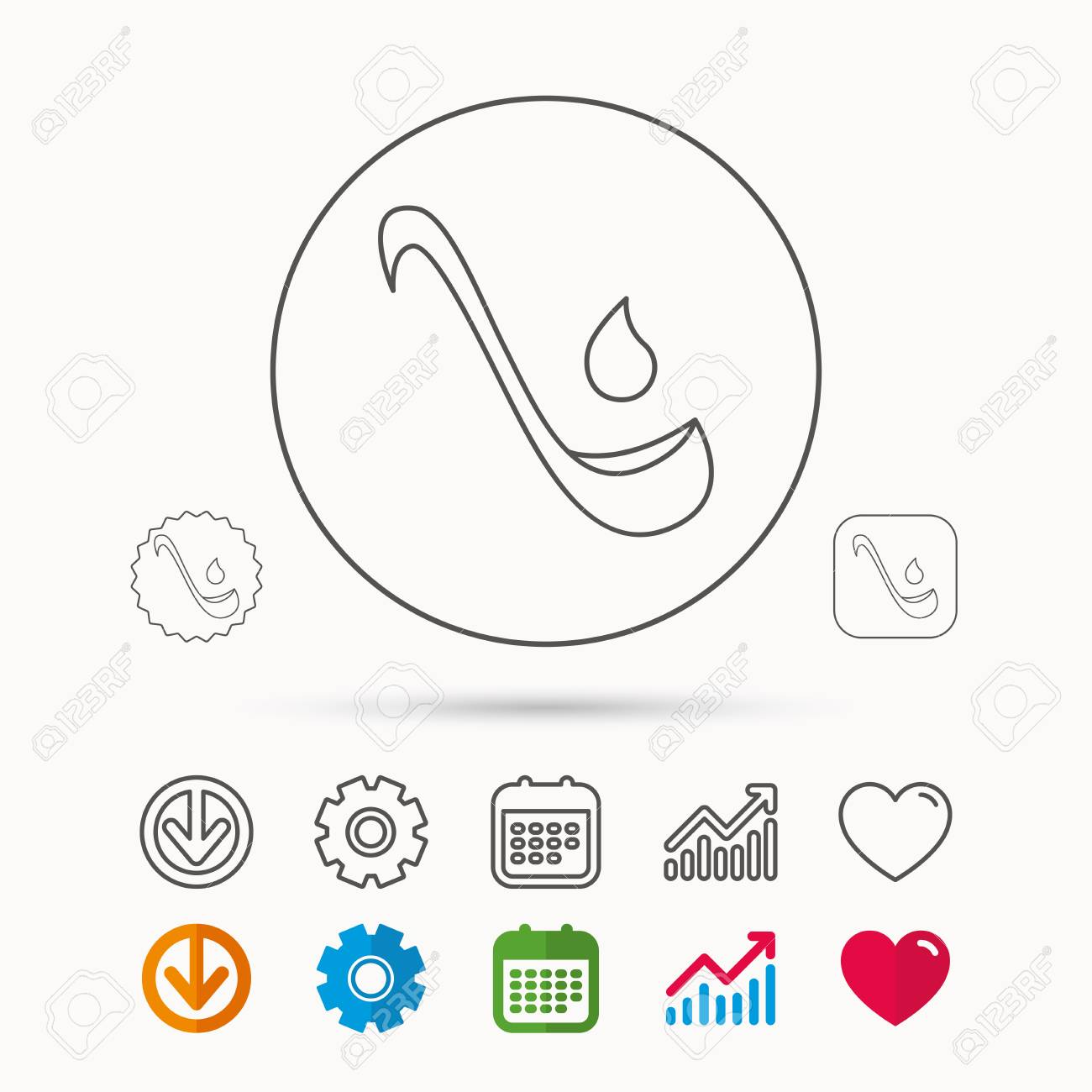 Soup ladle icon kitchen spoon sign calendar graph chart and download and heart love linear web icons vector soup ladle icon kitchen spoon sign calendar graph chart and cogwheel signs ccuart Choice Image