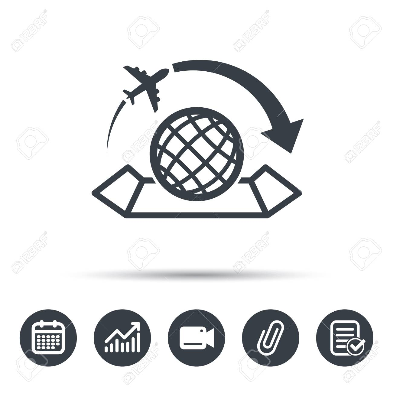 World map icon globe with arrow sign plane travel symbol calendar vector world map icon globe with arrow sign plane travel symbol calendar chart and checklist signs video camera and attach clip web icons vector gumiabroncs Image collections