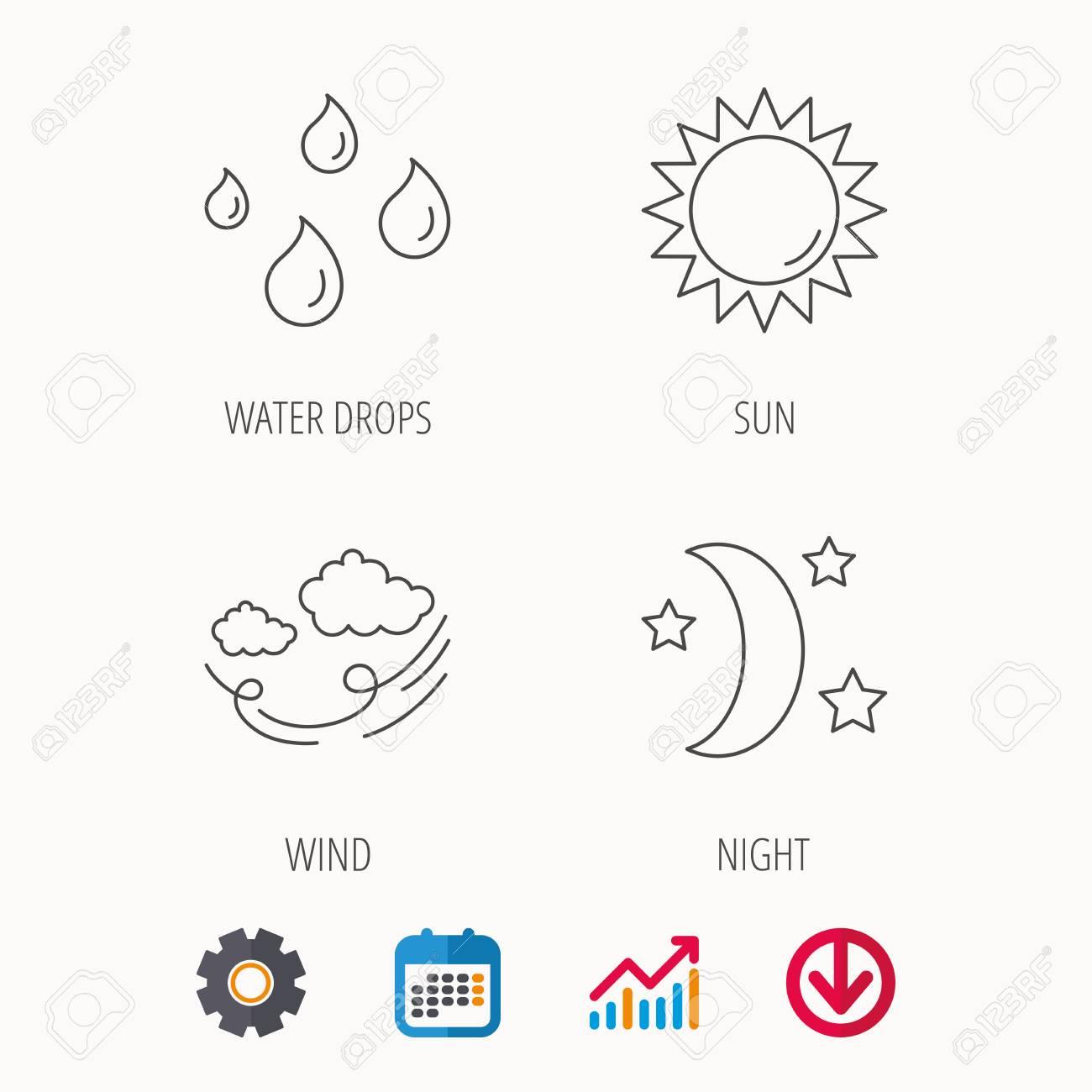 Calendrier Soleil.Icones Meteo Soleil Et Vent Lune Nuit Lineaire Signe Calendrier Diagramme Graphique Et Signes De Roue Dentee Telecharger L Icone Web Colore