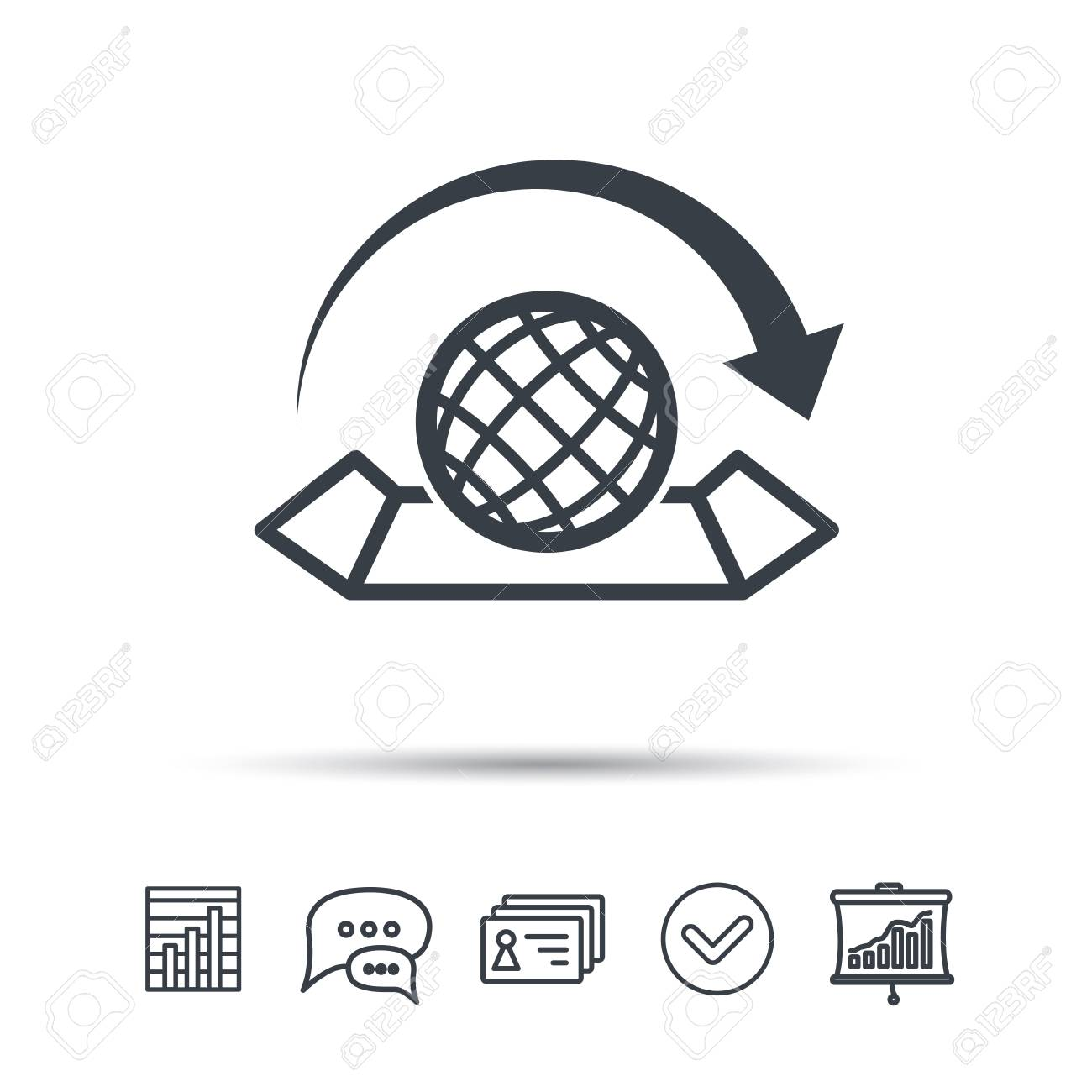 World map icon globe with arrow sign travel location symbol vector world map icon globe with arrow sign travel location symbol chat speech bubble chart and presentation signs contacts and tick web icons gumiabroncs Images