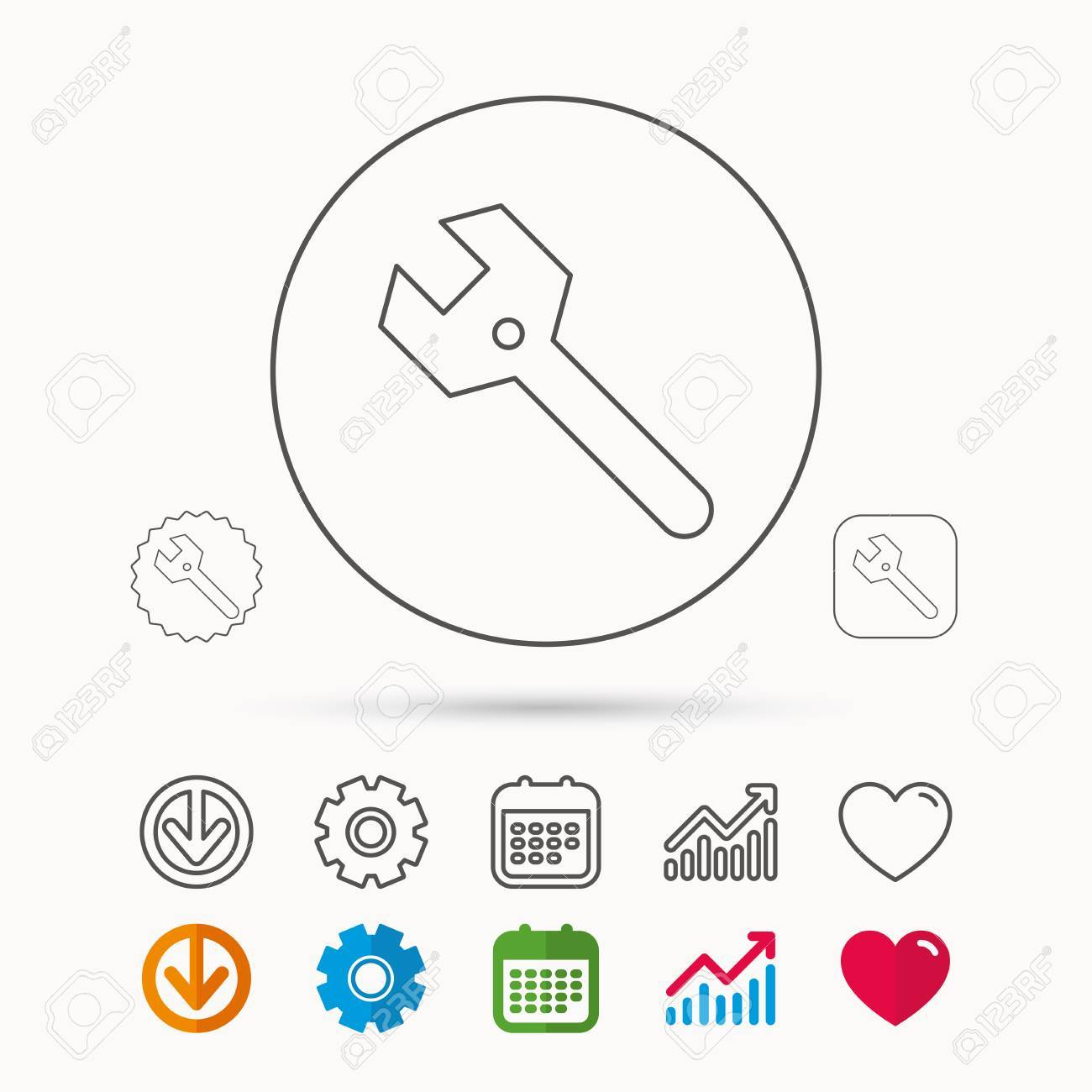 Wrench key icon repair fix tool sign calendar graph chart and imagens wrench key icon repair fix tool sign calendar graph chart and cogwheel signs download and heart love linear web icons vector ccuart Gallery
